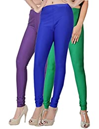 Fashion And Freedom Women's Pack Of 3 Purple,Blue And Green Satin Leggings