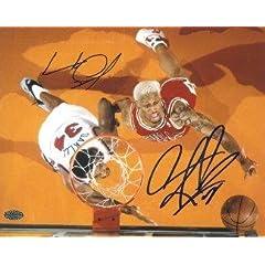 Charles Oakley signed New York Knicks 8X10 Photo w  Dennis Rodman - Autographed NBA...