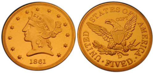 Lot of 10 - 1861-D $5 Liberty Head Half Eagle Gold Coins - Replica