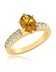 IskiUski Bewitched Synthetic Yellow Sapphire Sterling Silver 14kt Gold Plated Round Cubic Zirconia Ring For Women...