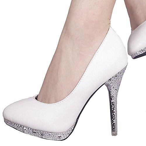 Getmorebeauty Women's Off White Glitter Dress Wedding Shoes High Heel 6 B(M) US