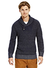 North Coast Shawl Collar Textured Jumper with Lambswool
