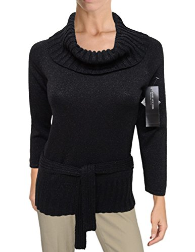 Jones New York Metallic Ribbed Cowlneck Belted Knit Sweater, Black (Medium)