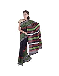 Aaradhya Bagru Black And Green Print Cotton Saree For Women