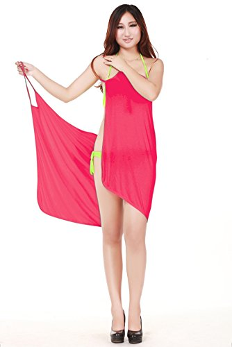 Am Clothes Womens Bikini Swimwear Cover Up Beach Dress (Watermelon Red) front-770204