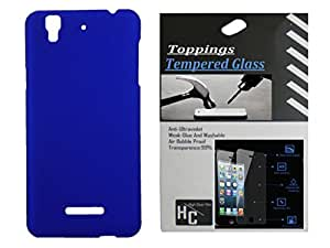 Toppings Hard Case Cover With Tempered For Micromax Yureka - Blue