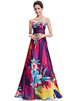 Ever Pretty Strapless Floral Printed Satin Colorful Empire Line Prom Dress 09603