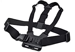 Elecsonix Adjustable Chest Mount Harness Head Strap Belt Mount/Chest Belt Strap Harness Mount/ Monopod Tripod Mount Adapter for GoPro HD Hero 1 2 3 Camera - black Perfect Mount for Skiing, Kayaking, Biking, Motocross, Equestrian and Other Action Sports