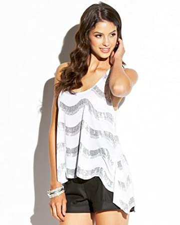 bebe Asymmetric Sequin Stripe Tank :  top white bebe