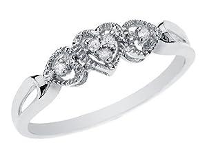 Diamond Heart Promise Ring in 10K White Gold, Size 7