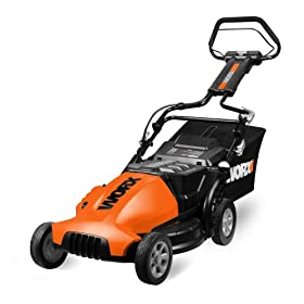 WORX ECO WG780 19-Inch 24 Volt Mulch/Bag/Side Discharge Cordless Electric Lawn Mower with Removable Battery