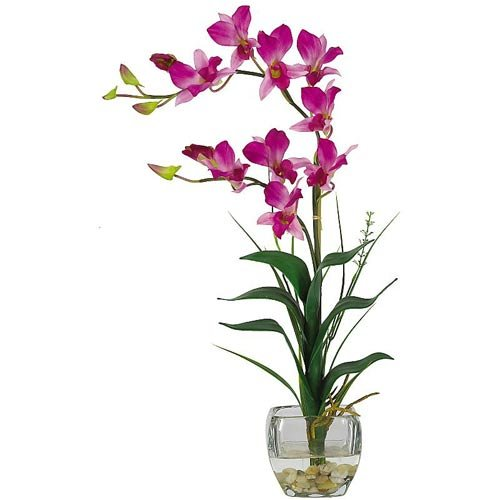 Dendrobium w/Glass Vase Silk Flower Arrangement – Pink