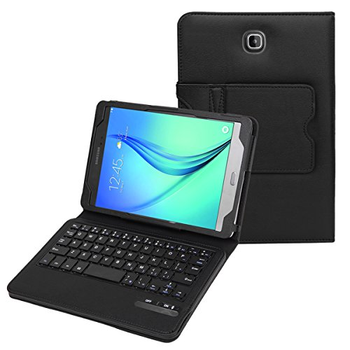 """BMOUO Samsung Galaxy Tab A 8.0 Case with Keyboard - Ultra Slim Detachable Bluetooth Keyboard Portfolio Leather Case Cover for Samsung Tab A 8.0"""" Inch T350 Tablet , Black Color"""