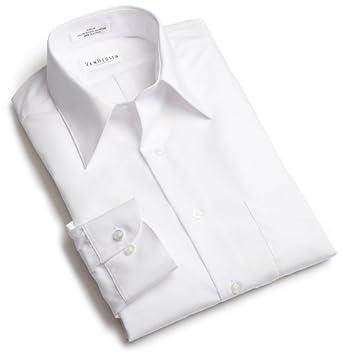 Van Heusen Men's Long Sleeve Wrinkle Free Poplin Solid Shirt, White, 17.5 - 32/33