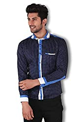 Kivon Men's Navy Printed Party Wear Slim Fit Casual Shirt