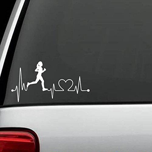 K1008 Run Girl Heartbeat Marathon 13.1 26.2 Running Vinyl Decal Sticker ...