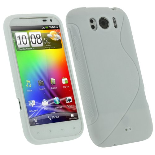 Igadgitz Dual Tone White Durable Crystal Gel Skin (Thermoplastic Polyurethane Tpu) Case Cover For Htc Sensation Xl Android Smartphone Cell Phone + Screen Protector