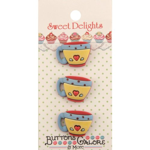 Brand New Sweet Delights Buttons-Coffee Cups Brand New