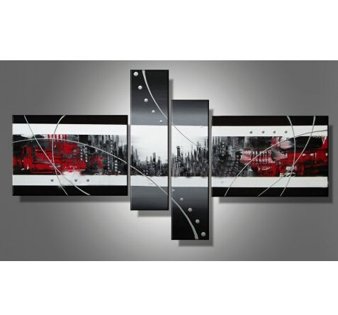 Art Painting-Abstract White Black Architecture 100% Hand Painted Modern Oil Painting On Canvas Wall Art Home Decoration Canvas Art Unframe Unstretch front-451190