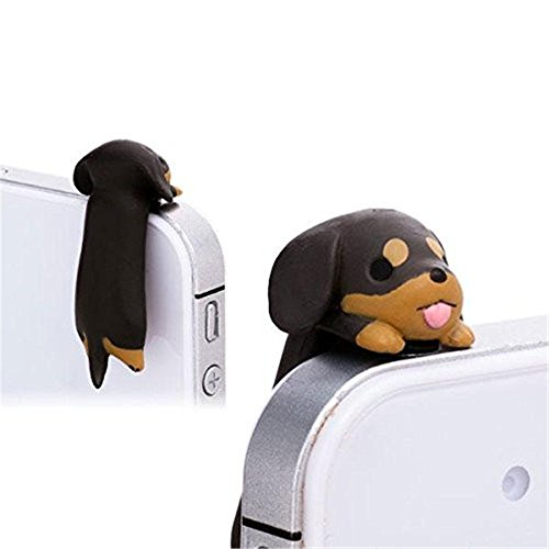 Slash Cute Little Puppy Dust Plug Stopper Universal 3.5mm Anti Dust Earphone Jack Plug Cap for Iphone4/4s/5/6/6 Plus,ipod,ipad,htc,samsung S3 S4 S5 (Dachshund) (S5 Anti Dust Plug compare prices)
