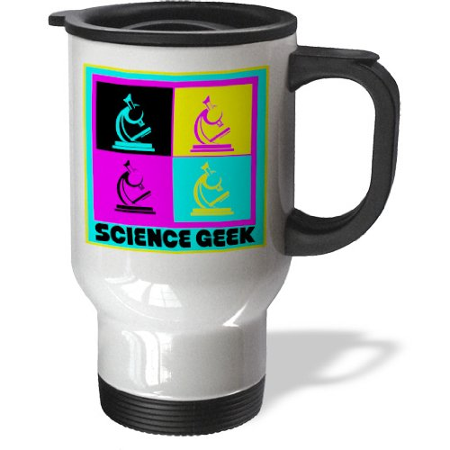 Tm_102397_1 Dooni Designs Cmyk Hipster Designs - Cmyk Pop Art Microscope Science Geek Design Cartoon - Travel Mug - 14Oz Stainless Steel Travel Mug
