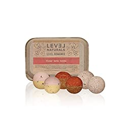 LIMITED EDITION: Level Naturals Bath Bombs - Romance Bath Bomb Variety 6 Pack (2 x Chocolate Covered Strawberry, 2 x Dozen Roses, 2 x Valentine Cookies)