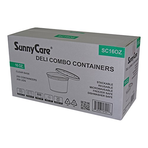 SunnyCare® 16 oz.Microwavable Translucent Plastic Deli Container with Lid -(Case of 250) (16 Ounce Plastic Lids compare prices)