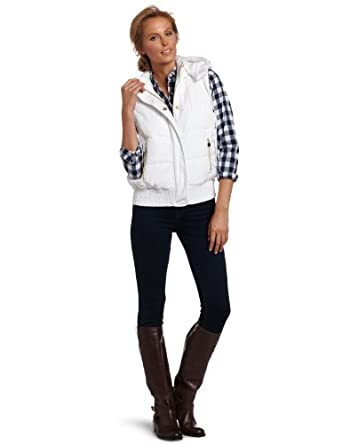 Calvin Klein Performance Women's Hooded Puffer Vest, White, Medium