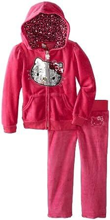 Hello Kitty Little Girls' Velour Sweatsuit, Fuchsia Purple, 2T