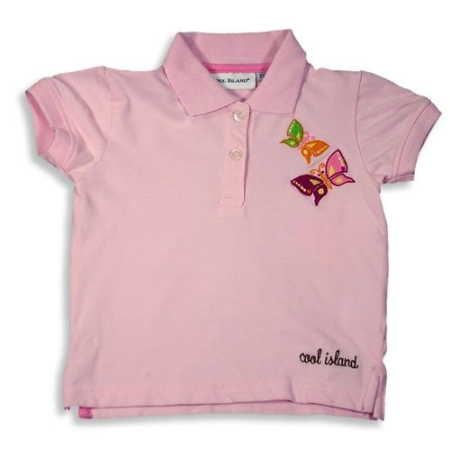 Cool island girls short sleeved pique polo shirt pink for Baby pink polo shirt