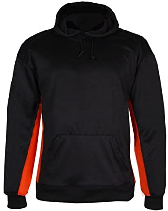 Badger Sport Adult Unisex Bt5 Performance Fleece Hoodies X-Large Black/Burnt Orange