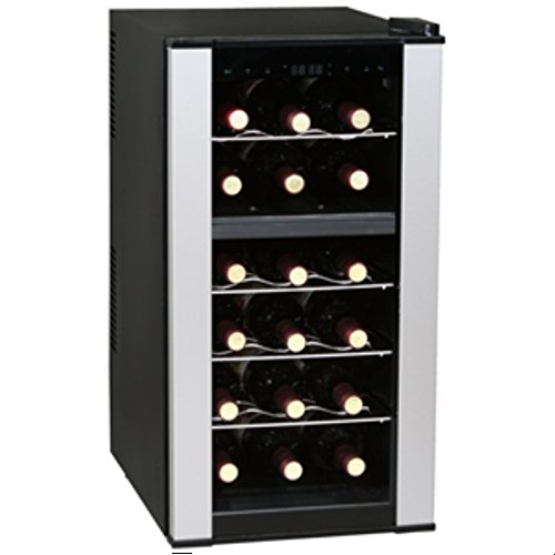 Vinotemp VT-18PTED-2Z 18 Bottle Dual-Zone Thermoelectric Wine Cooler, Black