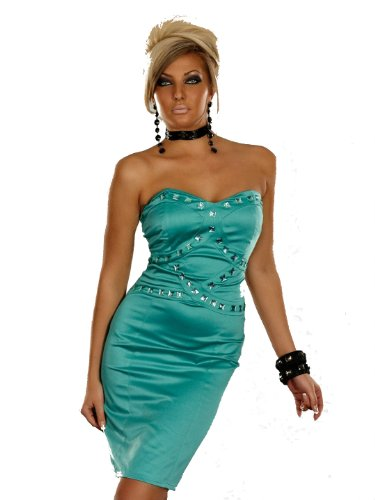 celebrity style bandeau satin green pencil bandage dress strapless boob tube silver jewel gem stone smook mini evening cocktail club posh slim fitted bandage dress club, party wedding size one size uk 8 10 or Eur 34/36 or s/m
