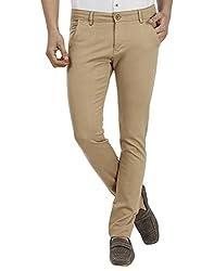 FEVER Men Solid Trousers, Khaki