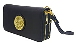 Canal Collection Double Zipper Around PVC Leather Wristlet Clutch Organizer Wallet with Emblem (Black)