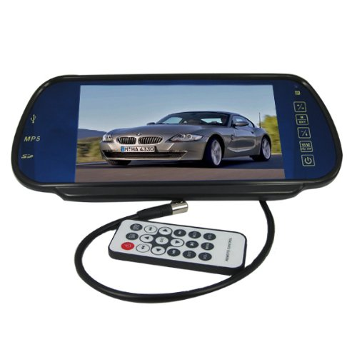 """Epathchina® 7"""" Tft Lcd Color Screen Car Rear View Mirror Monitor 2 Av Input And 2 Channel Stereo Audio Output(Fm), Support Playing Video Or Audio Files From Sd Card And Usb Flash Disk"""