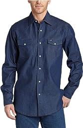 Wrangler Men's Authentic Cowboy Cut Work Western Long-Sleeve Firm Finish Shirt, Rigid Indigo Denim, Large