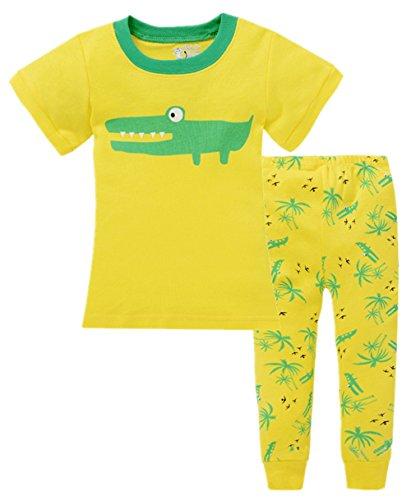 Phoebe cat Little Boy's Cotton 2-pcs Pajama Set Short Sleeve T-shirt+Pants Suit (7T, Crocodile pattern)