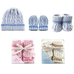 Luvable Friends Cableknit Hat, Mitten & Booties Gift Set, Blue,0 - 6 Months,Blue
