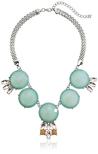 """5 Large Milky Round Stones On Mesh Chain Shiny Silver And Mint Necklace, 16"""""""