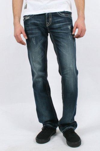 Rock Revival - Mens Sebastian Straight Leg Jeans in T3 Denim, Size: 32, Color: Denim