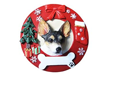 Rat Terrier Ornament Personalized and Hand Painted Measures 3.75 Inches Diameter