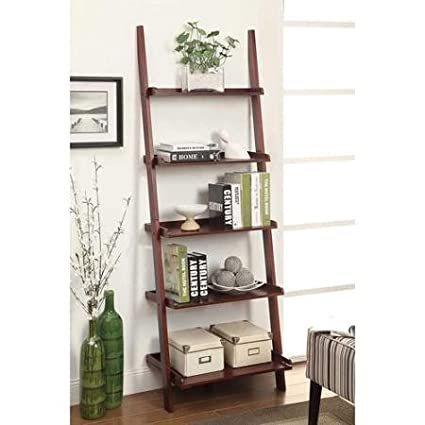 Rich Glossy Finish French Country Bookshelf Ladder (Dark Cherry)