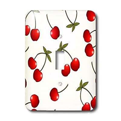 3dRose LLC lsp_24731_1 Cherry Print Juicy Red Cherries on White, Single Toggle Switch