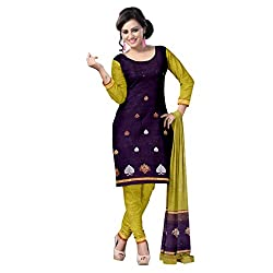 Purple and Light Green Chanderi Unstitched Dress Set with Floral Motifsf
