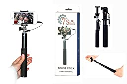 Selfie Stick made from strong Aluminum alloy from 7th Shift. Extendable monopod, wired connection, suitable for most iphone, Samsung and Android phones. Ideal for self-portrait. No need for charging or pairing. Taking selfies has never been this easy. Get