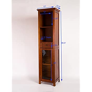"""Glitzhome 65.55"""" H Wooden Floor Storage Cabinet with 4-Shelves and 1-door"""