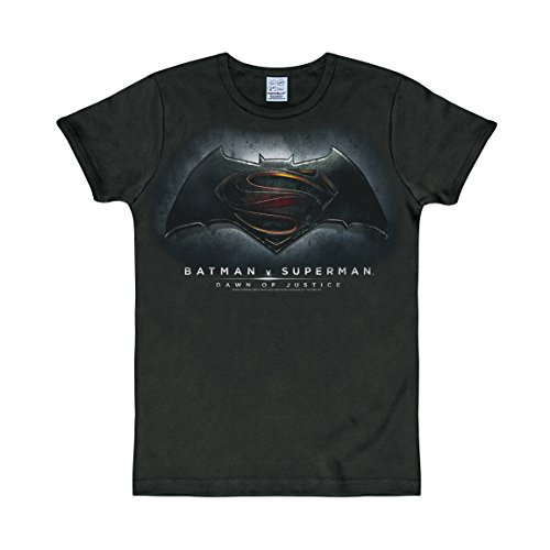 LOGOSHIRT - Batman v Superman T-shirt Slim Fit - DC Comics - Dawn of Justice maglia Slim Fit - nero - design originale concesso su licenza, taglia XL