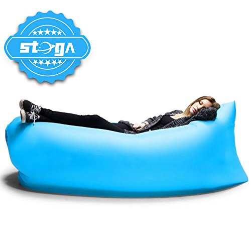 Stoga Outdoor Inflatable Couch Camping Furniture Sleeping Compression Air Bag Lounger Hangout Nylon Fabric Blue
