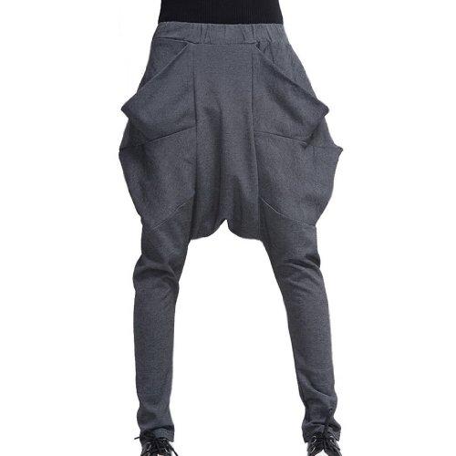 Tangda Women Cotton Blend Gym Hip-Hop Harem Sport Dance Pants - Grey